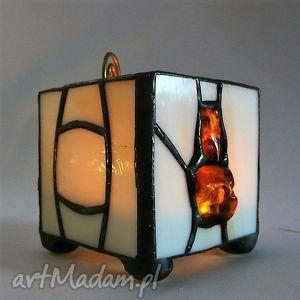 prezent bursztynowy lampion-świecznik, lampion, elegancki, bursztyn
