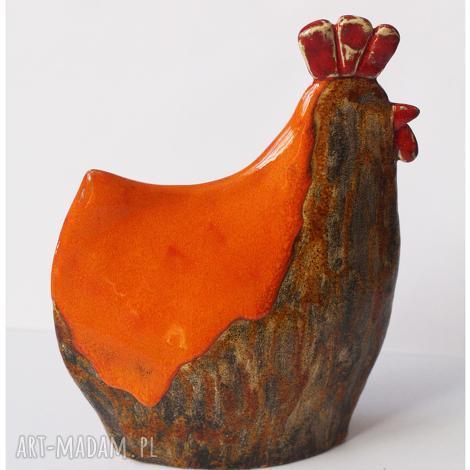 kura pomarańczowo brązowa, kura, ceramika