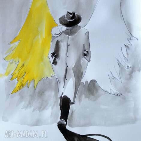 grafika wykonana akwarelami i piórkiem anioł w kapeluszu, rysunek, grafika