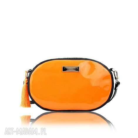 na ramię taszka ovum touch 111 lakierowana pomarańczowa, mała, torebka