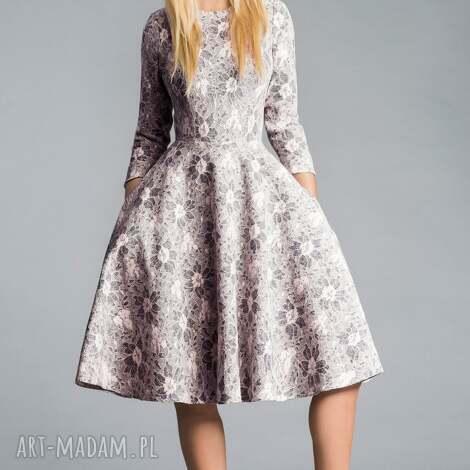 livia clue sukienka star 3 4 midi shanon, koronka, midi, kieszenie, pudorowy, szara