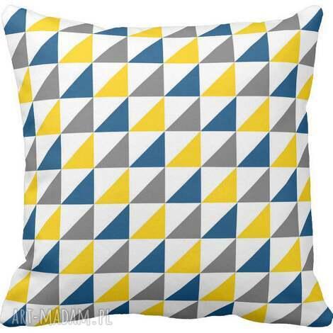 poduszka ozdobna trójkąty żółte niebieskie szare 6584, geometryczna, skandynawska