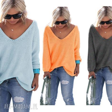 sexy serek sweterek , sweter, serek, dekolt, luźny, pulower, jesień ubrania, pod