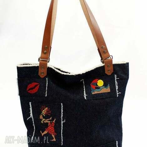 jeansowy strzępiak 2, jeans, granat, haft, flisanna torebki