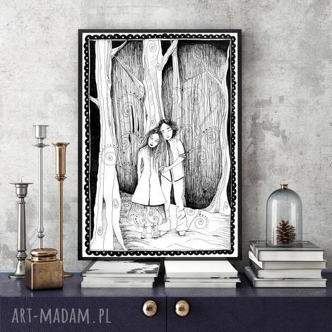 grafika miłosna opowieść a4, grafika, ilustracja, miłość, zakochani, a4 dom