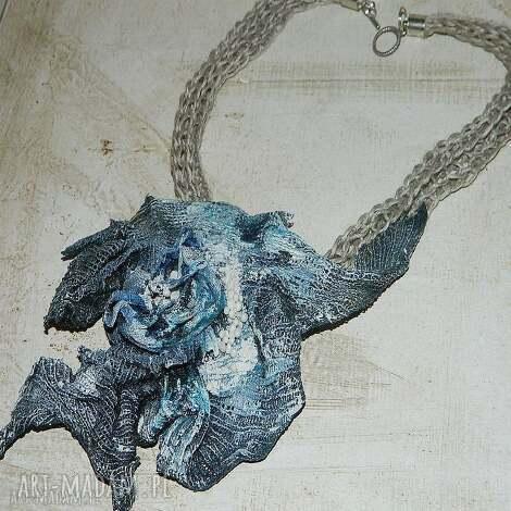 niebieski lniany naszyjnik - naszyjnik, eko, niebieski, artystyczny, lniany, prezent