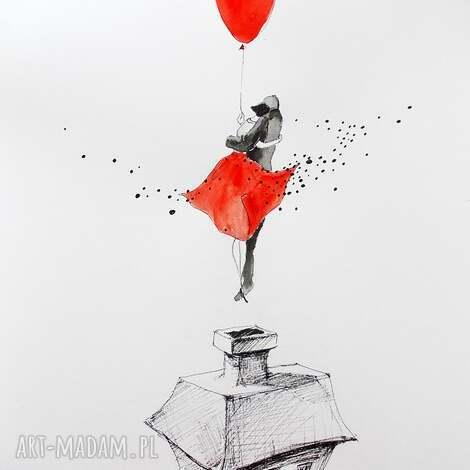 grafika akwarelą i piórkiem zakochani, grafika, rysunek, para, balon, dom, zakochani