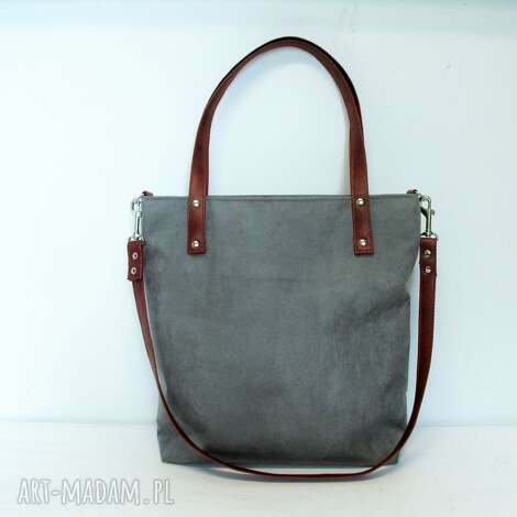 shopper bag, szara, torba, modna, szyta, wygodna torebki