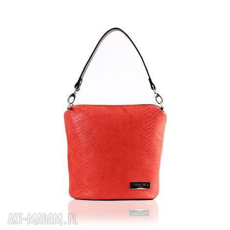 na ramię skórzana torebka touch czerwona 075, elegancka, lostonoszka, skórzana, modna
