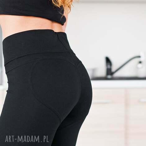 czarne modne fajne modelujące wyszczuplające elastyczne legginsy push up l