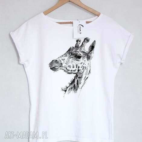 żyrafa koszulka bawełniana biała l xl, koszulka, tshirt, bawełna, nadruk
