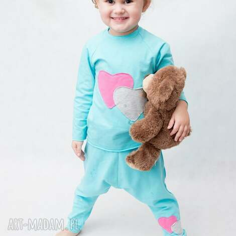 piżamka turkusowa z różem, piżamka, bawełna, wygoda, handmade, aplikacja