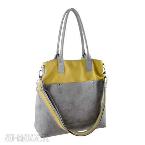 fiella - duża torba musztarda i szarość, shopper, modna, miejska, prezent