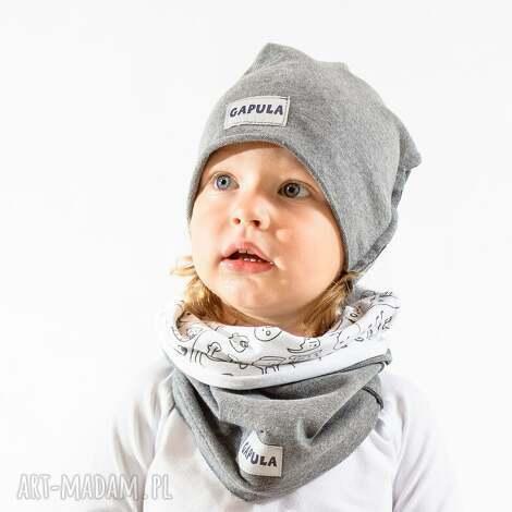 czapa średnio szary , bawełna, handmade, czapa, ciepło, szara ubranka dla dziecka