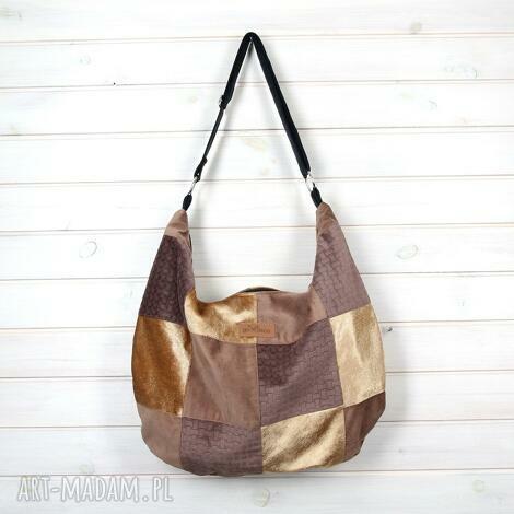 torba hobo listonoszka na ramię brązowa, torebka, prezent, patchwork, brązowa