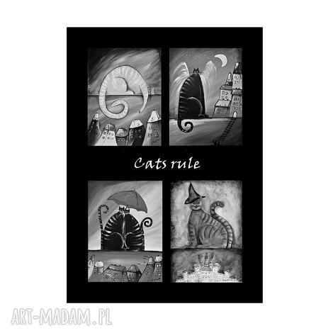 prezent na święta, plakaty cats rule, plakat 50 70 cm, kot, koty, plakat, obraz