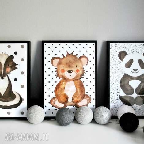 plakaty 3 zwierzaki i kropki a3, miś, kropki, jelonek