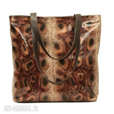 skórzana torba z fakturą egzotycznego węża, torebka, prezent, handmade, skóra