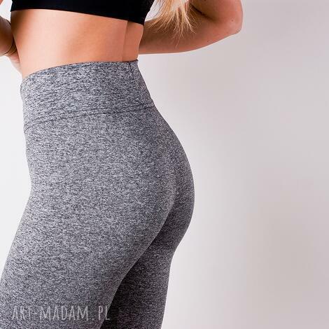 spodnie sportowe damskie szare legginsy z pasem wysoki stan, redmasterclothes