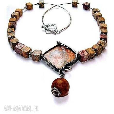 jaspis koronkowy naszyjnik niezwykły - ekskluzywny, elegancki, handmade, jaspis