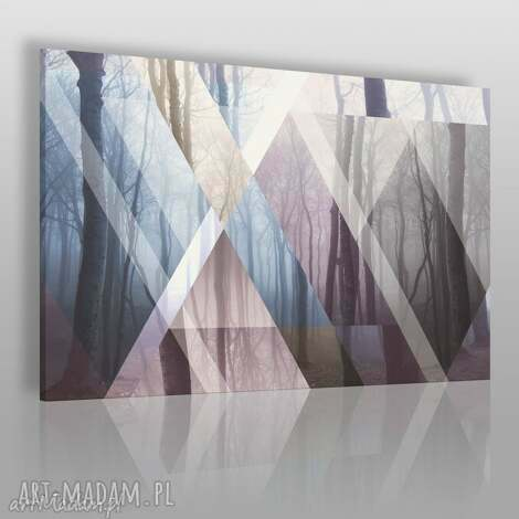 obraz na płótnie - trójkąty las 120x80 cm 45001 , las, drzewa