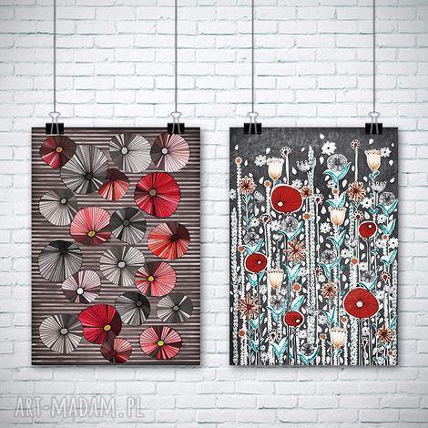 zestaw dwóch prac a3, kwiaty, maki, rysunek, plakat grafika dom