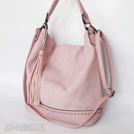 torba z ekoskóry pudrowy róż, torba, torebka na ramię