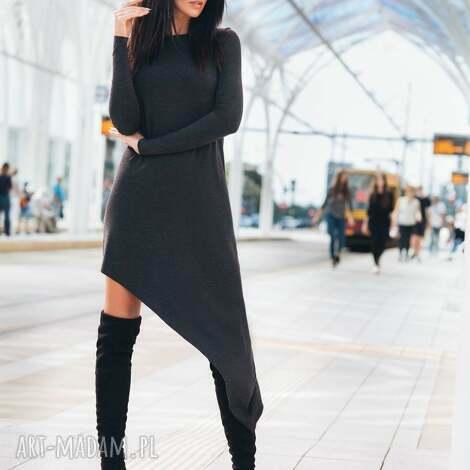sukienka asymetryczna, t152, ciemnoszara - sukienka, dzianina, wiskoza, asymetryczna