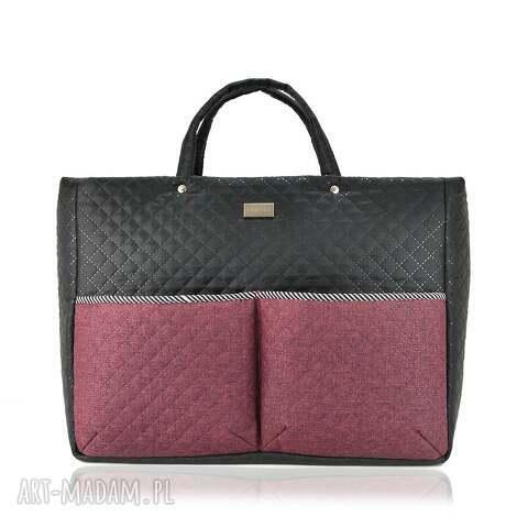 torebka farbaby 878, duża, bordowa, czarna, wózek, pikowana torebki
