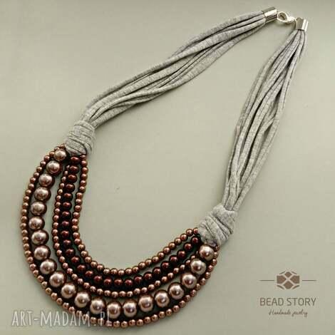 naszyjniki nelly, korale, perły, szkło, bawełna, sznurek, metal