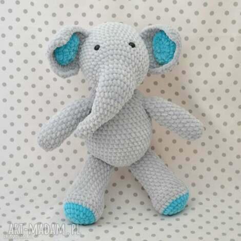 szydełkowy słonik turkusi, słoń, słonik, szczęście, turkus, szary, niebieski