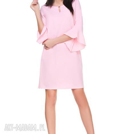sukienka szyfonowa t173, jasnoróżowa - sukienka, szyfon, falbanka, elegancka