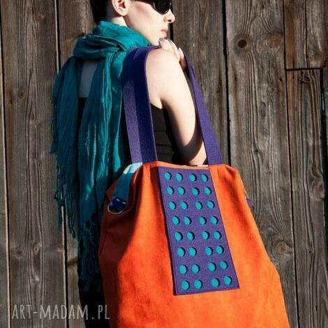 na ramię torba hobo xxl - pomarańcz, fiolet, szmaragd, hobo, xxl, color, block