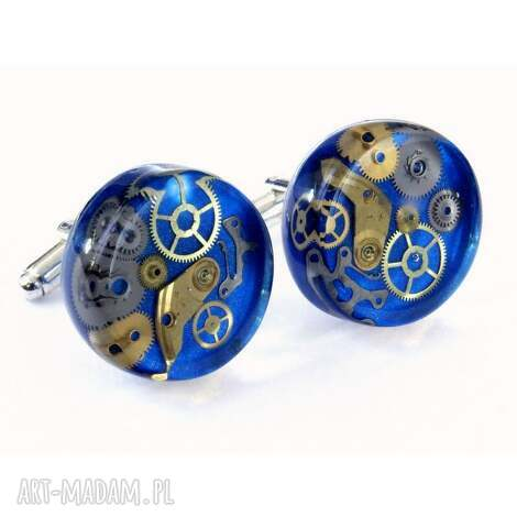 spinki - mechanical blue, biżuteria