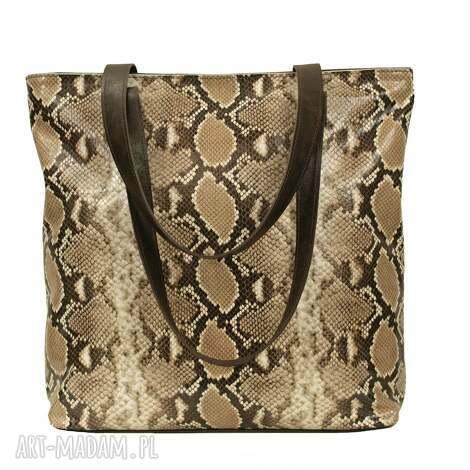 beżowo-brązowa skórzana torba, torebki, handmade, wygodna, prezent, pojemna, skóra