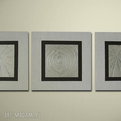ręcznie malowany nowoczesny 19 - 120x40cm obraz, płótno, nowoczesny, srebrny