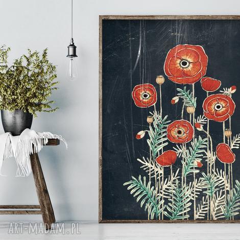 maki 50x70cm, plakat, dom, maki, kwiaty, rysunek świąteczny prezent