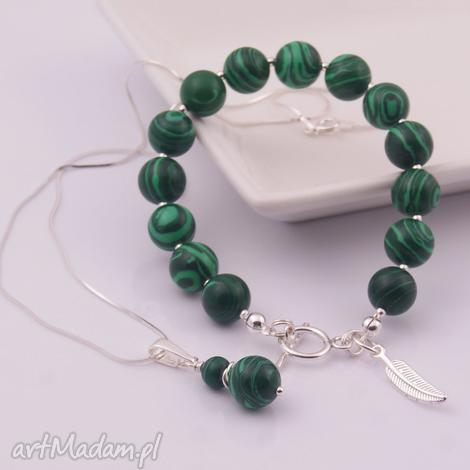 komplety zielony komplet z malachitu 3, komplet, mallachit, srebro, bransoletka