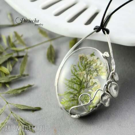 Łąka - naszyjnik z kwiatami - naszyjnik, wisior, srebrny, kwiaty, łąka