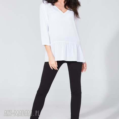 bluzka koszulowa z falbanką t135 biały - bluzka, koszula, szyfon, falbanka
