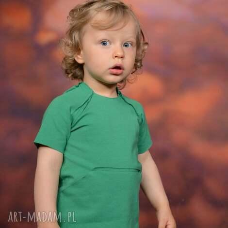 ubranka letnia bluzeczka z kieszonką kangurką zielona , bawełna, handmade, surowa