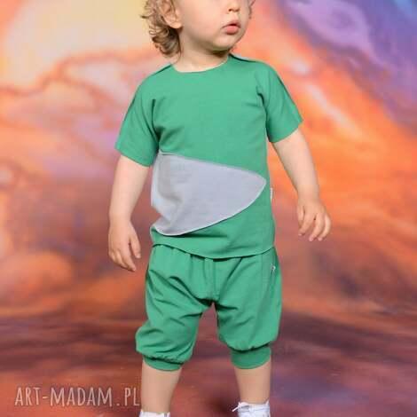 ubranka bluzeczka na lato z aplikacją zielono-szara, bawełna, handmade, surowe