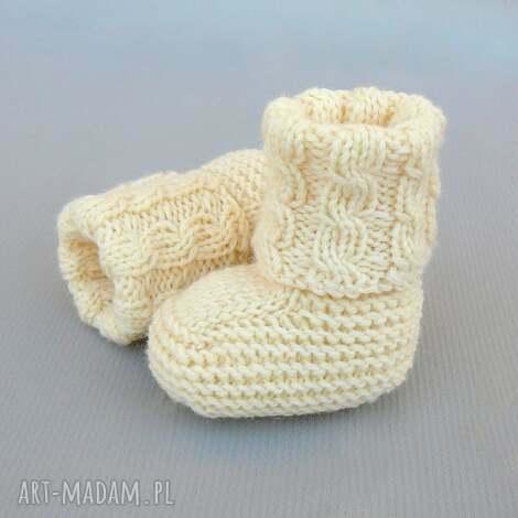 skarpetki newborn z warkoczem, prezent, dziecko, skarpetki, buciki, wełna, ciepłe