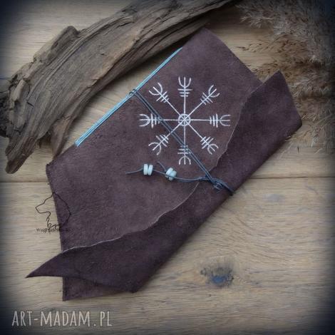 notes a6 ze skórzaną miękką okładką aegishjalmur - ręcznie robiony i malowany, wiking