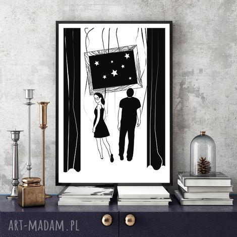 grafika w stronę gwiazd 30x40 cm , 30x40, a3, plakat, zakochani, miłość, ślub dom