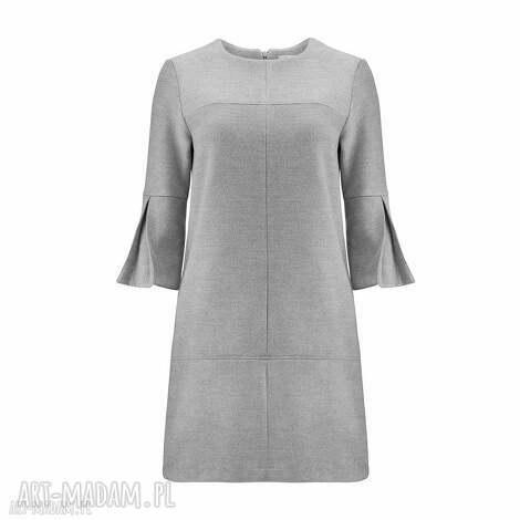 sukienki sukienka z wełny i kaszmiru rozszerzanymi rękawami 3 4, wełna, kaszmir