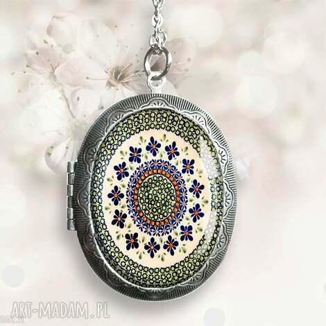 ludowy medalion otwierany - sekretnik, medalion, duży, wisior, etno, folk