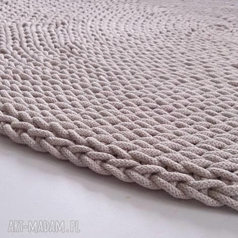 dywany dywan okrągły ze sznurka round braid ecru 110 cm, sznurek, szydełko