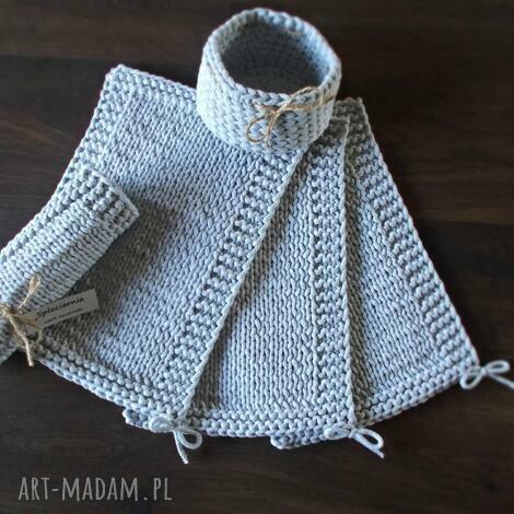 komplet eleganckich podkładek ze sznurka, podkładka, szary, sznurek, handmade, talerz