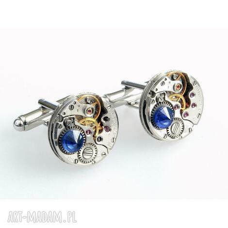 spinki - round i deep navy, biżuteria, świąteczny prezent